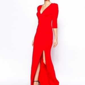 ASOS Red maxi dress w/slit
